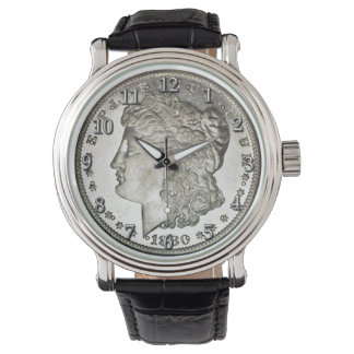 Morgan Silver Dollar Image on Watch with Numbers