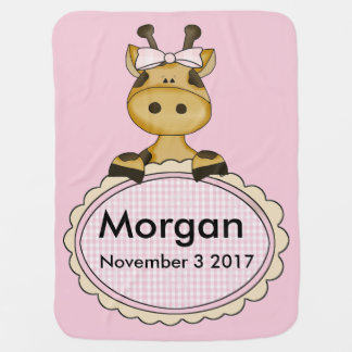 Morgan's Personalized Giraffe Swaddle Blanket