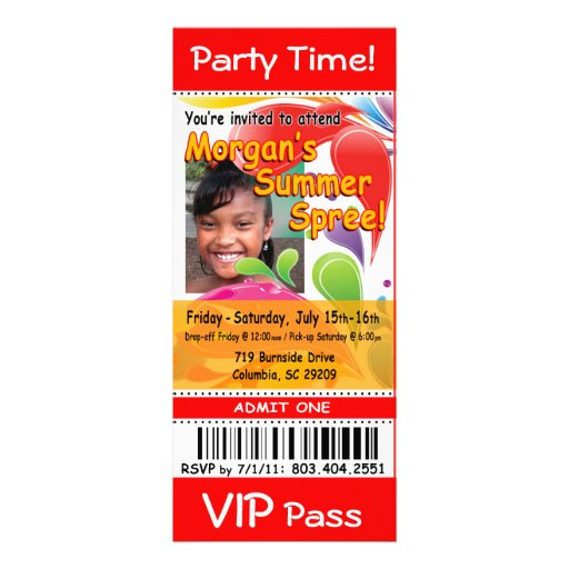 Morgan's Summer Spree VIP Ticket Photo Party (red) Personalized Invitation