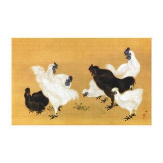 Mori Sosen Silkies Chickens Canvas Print