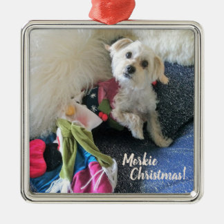 Morkie Christmas Stocking Premium Ornament