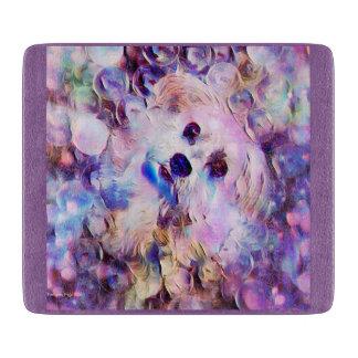 Morkie Dog Puppy Bubbles Purple Cute Cutting Board