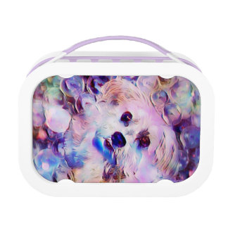 Morkie Dog Puppy Bubbles Purple Cute Lunchbox