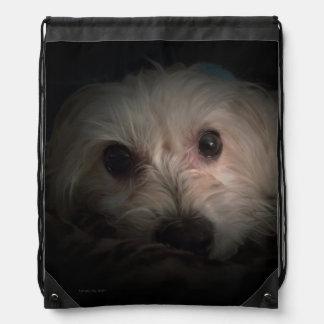 Morkie Dog Puppy Cute Rescue Coaster Drawstring Bag