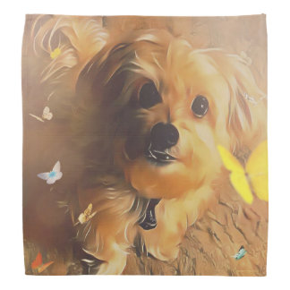 Morkie Puppy Dog Butterfly Cute Yellow Bandana