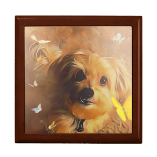 Morkie Puppy Dog Butterfly Yellow Cute Gift Box