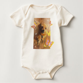 Morkie Puppy Dog Cute Butterfly Yellow Baby Romper