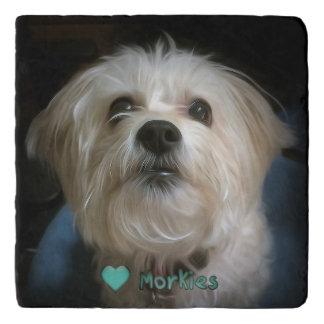 Morkie Puppy Dog Love Cute Marble Stone Trivet