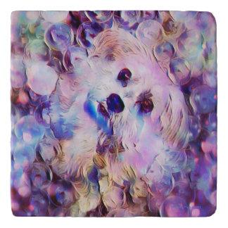 Morkie Puppy Dog Purple Bubble Marble Stone Trivet