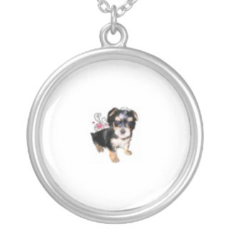 Morkie Puppy Silver Plated Necklace