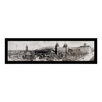Mormon Temple Grounds Photo 1912 Print