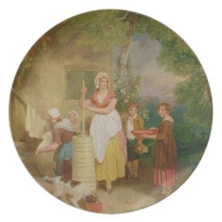 Morning, 1799 (oil on canvas) dinner plates