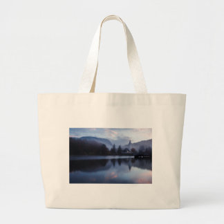 Morning at Lake Bohinj in Slovenia Large Tote Bag
