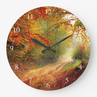 Morning Autum Forest Large Clock