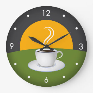 Morning Coffee Cup Cafe Large Round Wall Clock