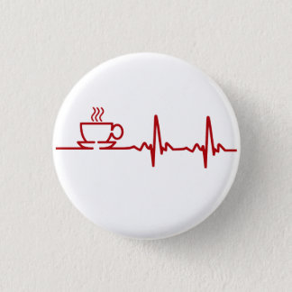 Morning Coffee Heartbeat EKG 1 Inch Round Button