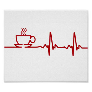 Morning Coffee Heartbeat EKG Poster