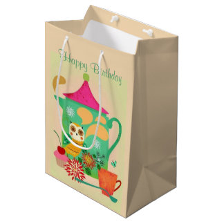 Morning Coffee Owl Medium Gift Bag