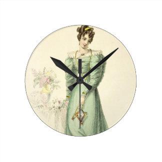 Morning Dress, fashion plate from Ackermann's Repo Wall Clocks