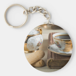 Morning espresso and cookies savoiardi basic round button keychain
