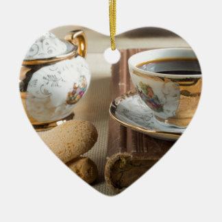 Morning espresso and cookies savoiardi ceramic ornament