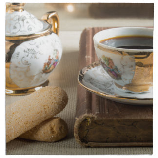 Morning espresso and cookies savoiardi napkin