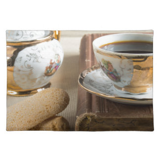 Morning espresso and cookies savoiardi placemat