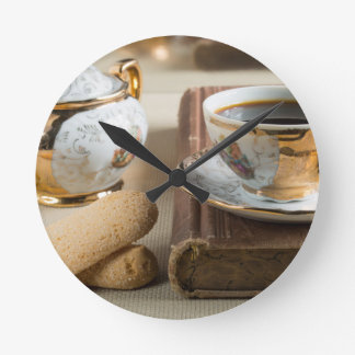 Morning espresso and cookies savoiardi round clock