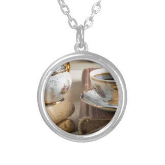 Morning espresso and cookies savoiardi silver plated necklace