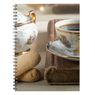Morning espresso and cookies savoiardi spiral notebook