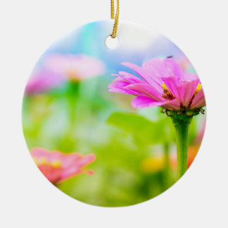 Morning flowers ceramic ornament