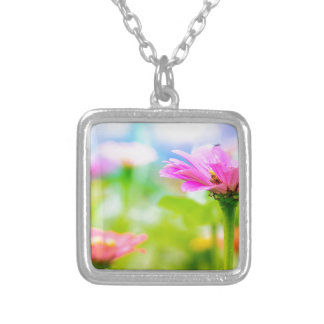 Morning flowers silver plated necklace