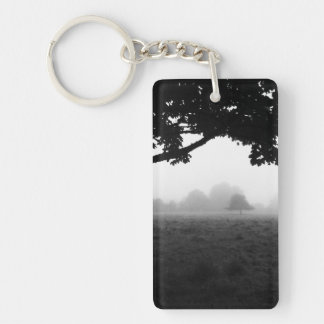 Morning Fog Emerging From Trees Keychain