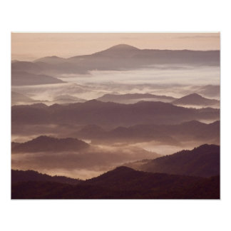 Morning fog in the southern Appalachian Poster