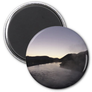 Morning Fog on the Jackson River at Grand Teton 2 Inch Round Magnet