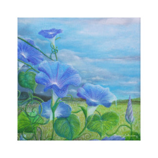 "Morning Glories 16"" x 16"" Wrapped Canvas Print"