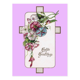 Morning Glories and Cross Vintage Easter Postcards