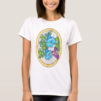 Morning Glories & Hummingbird Stained Glass T-Shirt