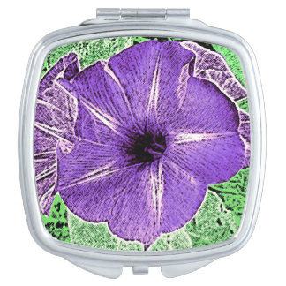 Morning Glory Block Print - soft violet Vanity Mirrors