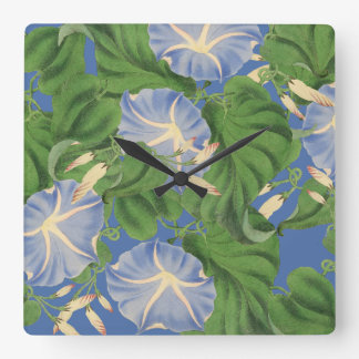 Morning Glory Floral Flowers Blossoms Wall Clock