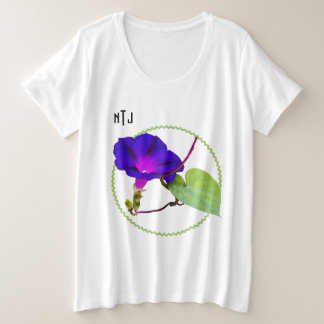 Morning Glory Floral Photography, Quote, Monogram Plus Size T-Shirt