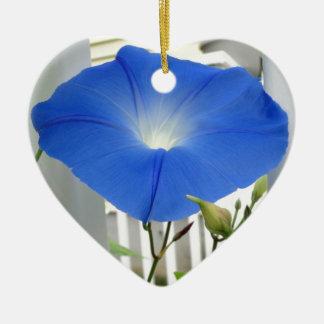 Morning Glory Flower Ceramic Heart Ornament
