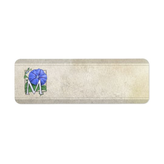 Morning Glory Flower Monogram Return Address Label