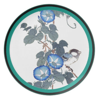 Morning Glory Flowers Bird Wildlife Animal Plate