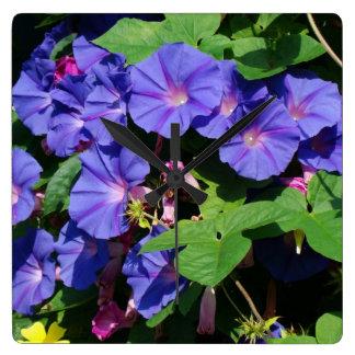 Morning Glory Flowers Wall Clock
