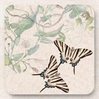 Morning Glory Flowers Wildlife Butterfly Coaster