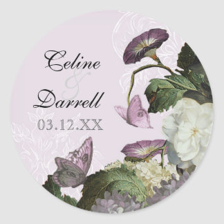 Morning Glory Hydrangea Wedding Sticker or Seal