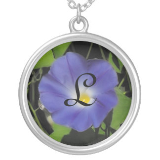 Morning Glory Initial Round Pendant Necklace
