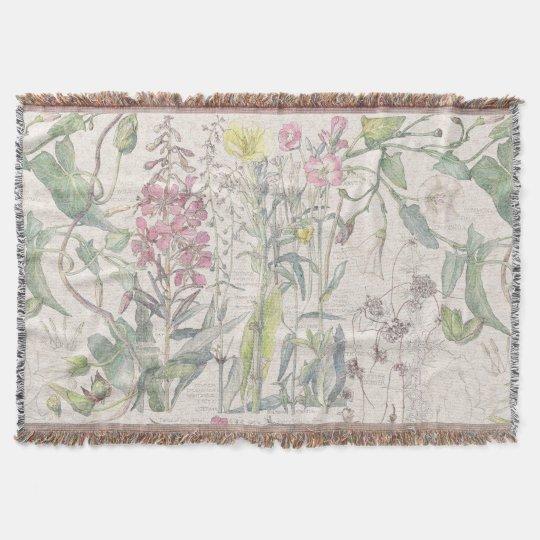 Morning Glory Primrose Flowers Throw Blanket