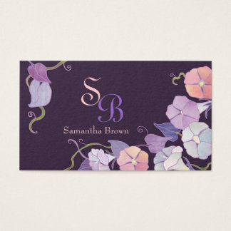 Morning Glory Purple Monogram Business Cards